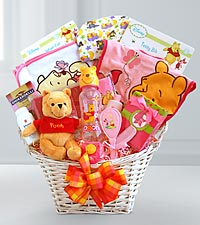 Winnie the Pooh Welcome Baby Girl Basket