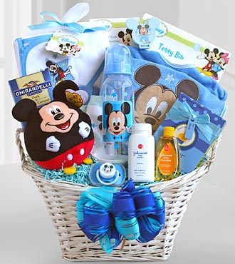 Mickey mouse basket of baby boy surprises h174 baskets mickey mouse basket of baby boy surprises h174 baskets sku negle Image collections