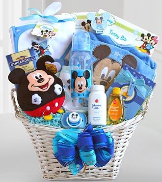 Mickey mouse basket of baby boy surprises h174 baskets mickey mouse basket of baby boy surprises h174 baskets sku negle Gallery