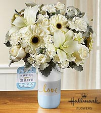The FTD ® Sweet Baby Boy™ Bouquet by Hallmark - VASE INCLUDED