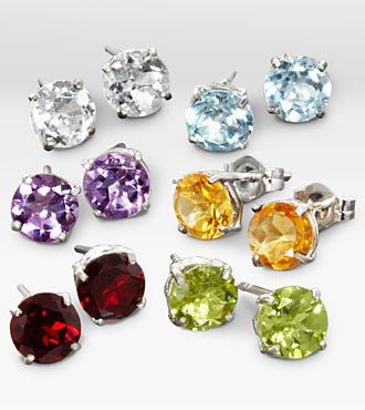 6-Piece Set Genuine Gemstone Sterling Silver Earrings