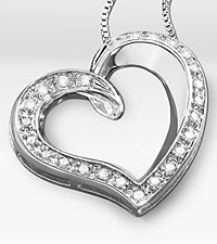 Diamond Open Heart Sterling Silver Pendant