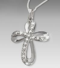 1/7 ct tw Diamond Cross Sterling Silver Pendant