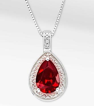 1 5/8 ct, Genuine Garnet Pear Drop Sterling Silver Pendant Necklace