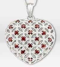 1 ct tw Genuine Garnet Filigree Heart Sterling Silver Pendant Necklace