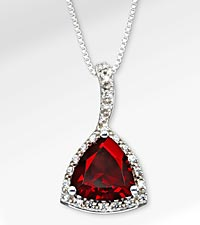 3-1/5 TGW Genuine Garnet Trillion with White Sapphires Sterling Silver Pendant Necklace