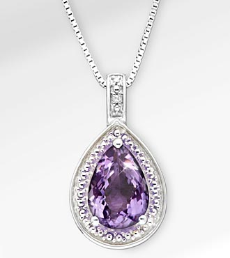 1 5/8 ct, Genuine Amethyst Pear Drop Sterling Silver Pendant Necklace