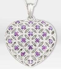 1 ct tw Genuine Amethyst Filigree Heart Sterling Silver Pendant Necklace
