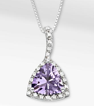 2-3/4 TGW Genuine Amethyst Trillion with White Sapphires Sterling Silver Pendant Necklace
