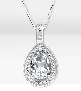 1-5/8 ct. Genuine White Topaz Pear Drop Sterling Silver Pendant Necklace