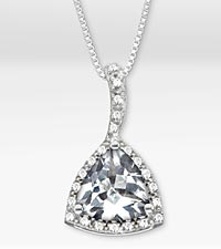 3-1/3 TGW Genuine White Topaz Trillion Sterling Silver Pendant Necklace