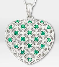 1 ct tw Synthetic Emerald Filigree Heart Sterling Silver Pendant Necklace