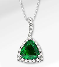 2-3/4 TGW Genuine Emerald Trillion with White Sapphires Sterling Silver Pendant Necklace