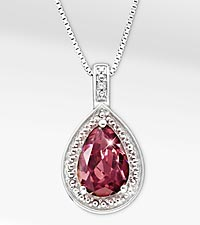 1-5/8 ct. Created Rhodolite Pear Drop Sterling Silver Pendant Necklace - Good