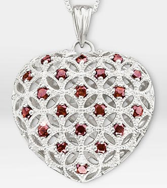 1 ct tw Created Rhodolite Filigree Heart Sterling Silver Pendant Necklace - Better