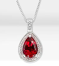 1-5/8 ct. Created Ruby Pear Drop Sterling Silver Pendant Necklace