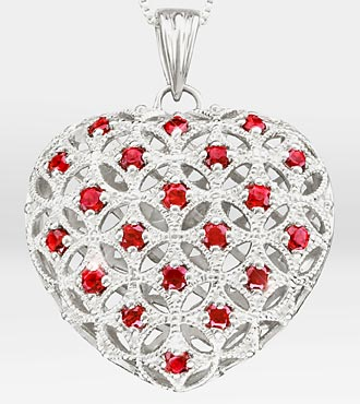 1 ct tw Created Ruby Filigree Heart Sterling Silver Pendant Necklace