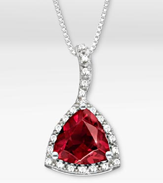 3-1/3 TGW Genuine Ruby Trillion with White Sapphires Sterling Silver Pendant Necklace