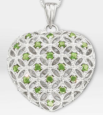 1 ct tw Genuine Peridot Filigree Heart Sterling Silver Pendant Necklace