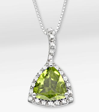 3.0 TGW Genuine Peridot Trillion with White Sapphires Sterling Silver Pendant Necklace
