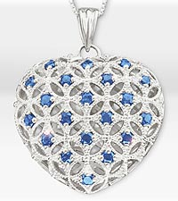 1 ct tw Created Sapphire Filigree Heart Sterling Silver Pendant Necklace - Better