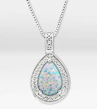 1-5/8 ct. Created Opal Pear Drop Sterling Silver Pendant Necklace