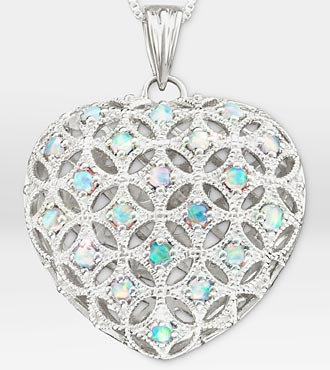 1 ct tw Created Opal Filigree Heart Sterling Silver Pendant Necklace - Better