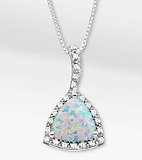 2-3/4 TGW Created Opal Trillion with White Sapphire Sterling Silver Pendant Necklace - Best