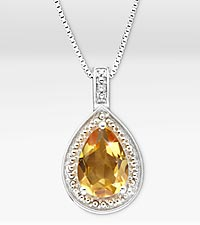 1-5/8 ct. Genuine Citrine Pear Drop Sterling Silver Pendant Necklace - Good