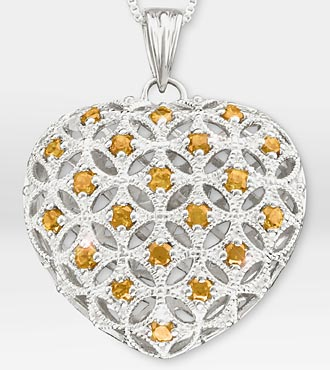 1 ct tw Genuine Citrine Filigree Heart Sterling Silver Pendant Necklace - Better
