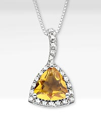 2-3/4 TGW Genuine Citrine Trillion with White Sapphire Sterling Silver Pendant Necklace - Best