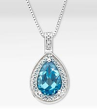 1-5/8 ct. Genuine Blue Topaz Pear Drop Sterling Silver Pendant Necklace - Good