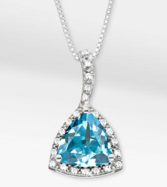 3-1/3 TGW Genuine Blue Topaz Trillion with White Sapphire Sterling Silver Pendant Necklace - Best