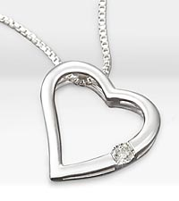 Floating .05 ct Diamond Heart Sterling Silver Pendant