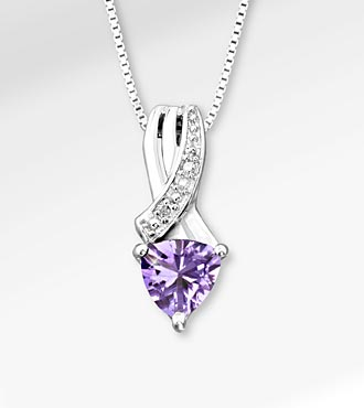 6mm Amethyst Trillion with Diamond Accent Sterling Silver Pendant Necklace