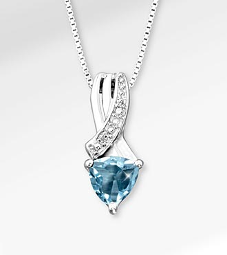 6mm Created Aquamarine Trillion with Diamond Accent Sterling Silver Pendant Necklace