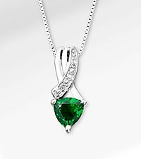 6mm Synthetic Emerald Trillion with Diamond Accent Sterling Silver Pendant Necklace