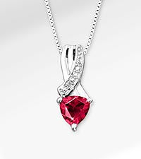 6mm Created Ruby Trillion with Diamond Accent Sterling Silver Pendant Necklace