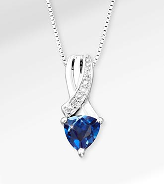6mm Created Blue Sapphire Trillion with Diamond Accent Sterling Silver Pendant Necklace
