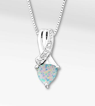 6mm Created Opal Trillion with Diamond Accent Sterling Silver Pendant Necklace