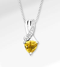 6mm Citrine Trillion with Diamond Accent Sterling Silver Pendant Necklace