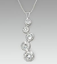 Genuine White Topaz Sterling Silver Journey Pendant