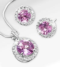 Created White & Created Pink Sapphires Sterling Silver Pendant & Earring Set