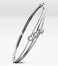 Genuine White Topaz 3-Stone Sterling Silver Bangle