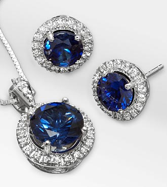 Created White Sapphire & Created Blue Sapphire Pendant & Earring Set