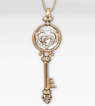 14K Rose Gold Over Sterling Silver Created White Sapphire Key Pendant