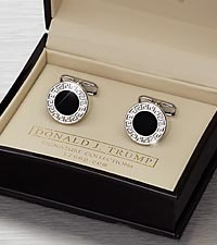 Donald Trump Silver Circle with Black Center Cufflinks