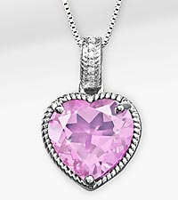 Let Love Shine Created Pink Sapphire & Created White Sapphire Heart Shaped SS Pendant