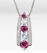 June Celebration Graduated Created White Sapphire & Genuine Rhodolite Birthstone Pendant