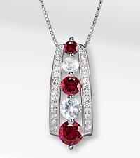July Celebration Graduated Created White Sapphire & Created Ruby Birthstone Pendant